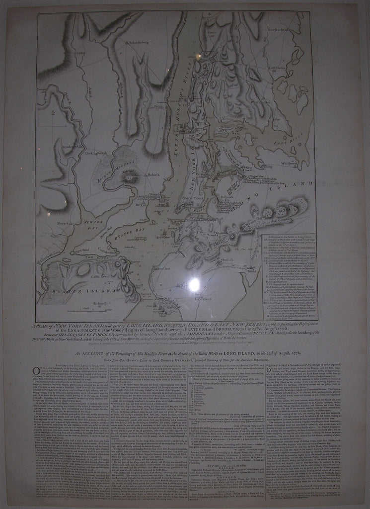FADEN, William (1749-1836). A Plan of New York Island, with part of Long Island, Staten Island & East New Jersey. London: William Faden, October 19th, 1776.