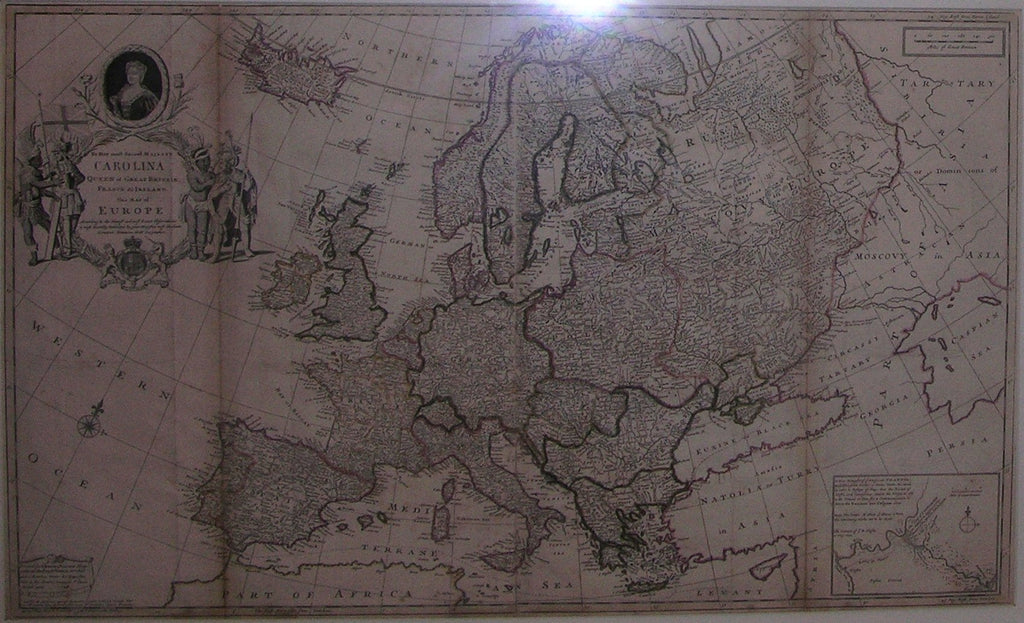 MOLL, Herman (1654-1732). To her Most Sacred Majesty Carolina Queen of Great Britain, France and Ireland, This Map of Europe. [London]: Printed by I. Bowles,... and T. Bowles, 1708; sold by H. Moll... and P. Overton,...[and] I. King, [ca 1730].