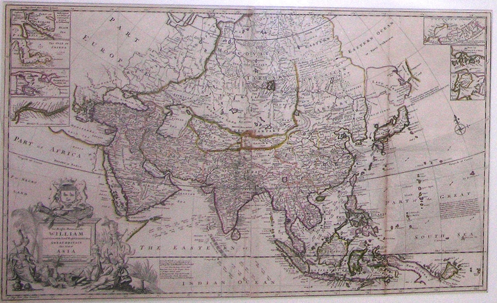MOLL, Herman (1654-1732). To the Right Honorable William Lord Cowper Lord High Chancellor of Great Britain This Map of Asia according to ye Newest & Most Accurate Observations. [London]: H. Moll, ... [ca. 1830].