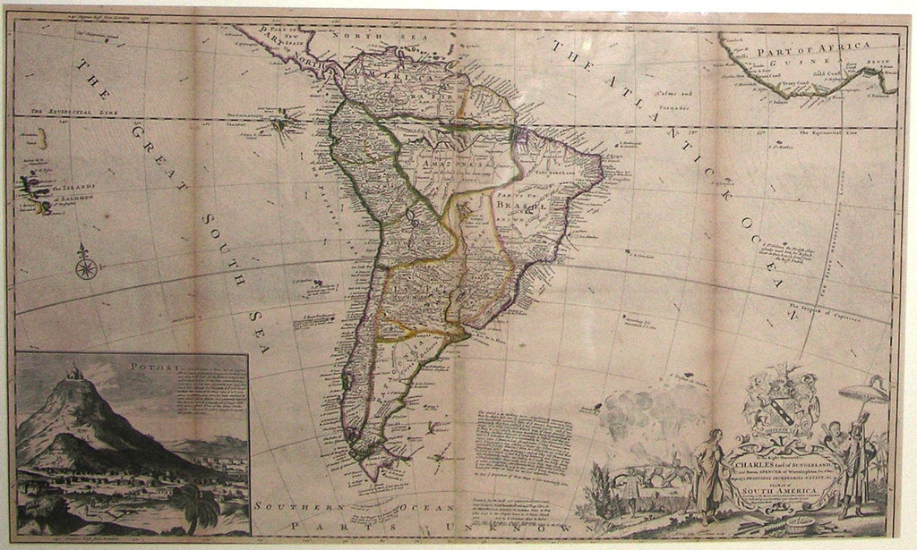MOLL, Herman (1654-1732). To the Right Honourable Charles Earl of Sunderland, and Baron Spencer of Wormleighton... This Map of South America. [London:] H. Moll, D. Midwinter, T. Bowles, P. Overton and John King, [ca 1730].