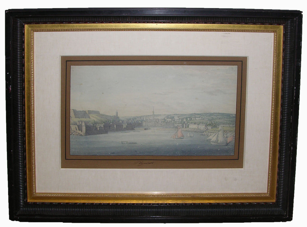 "CHORIS, Louis (1795-1828). Unpublished Original Watercolour Drawing of ""Plymouth"" Harbour, England. [ca 1817]."