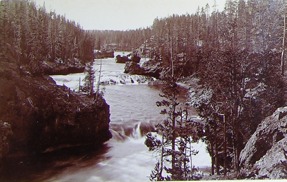 "HAYNES, Frank Jay (1853-1921) - YELLOWSTONE NATIONAL PARK. Fine Photograph of ""Rapids above Upper Falls"". [1887]."