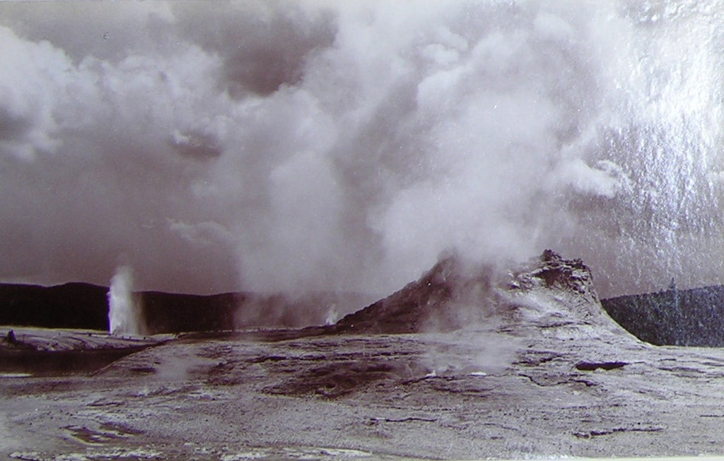 "HAYNES, Frank Jay (1853-1921) - YELLOWSTONE NATIONAL PARK. Fine Photograph of ""Castle and Bee Hive Geysers"". [1887]."