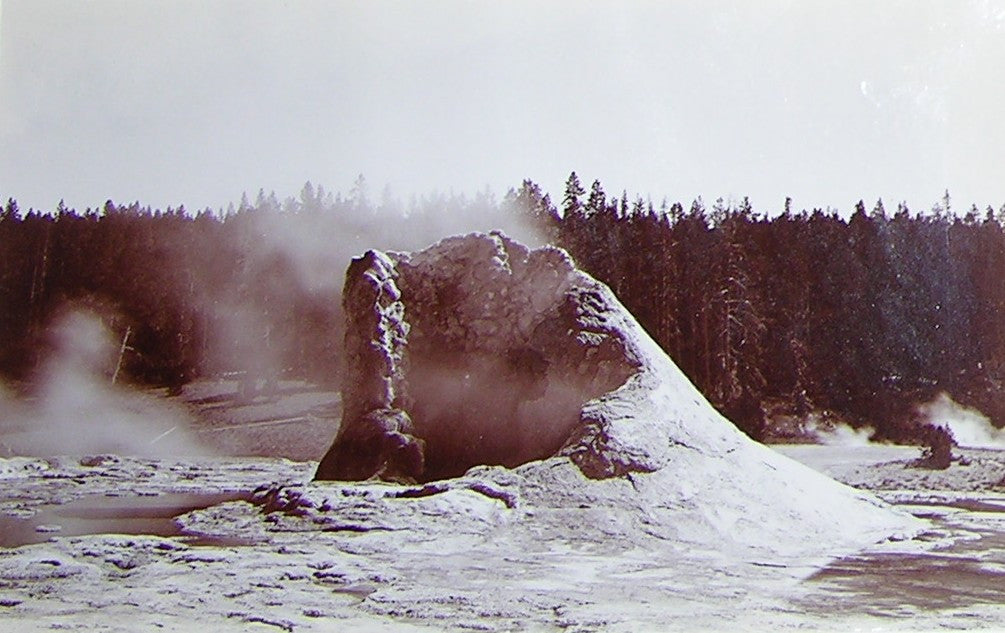 "HAYNES, Frank Jay (1853-1921) - YELLOWSTONE NATIONAL PARK. Fine Photograph of ""Cone of Giant Geyser"". [1887]."
