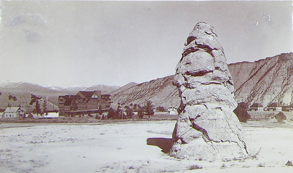 "HAYNES, Frank Jay (1853-1921) - YELLOWSTONE NATIONAL PARK. Fine Photograph of ""Liberty Cap and Hotel"". [1887]."