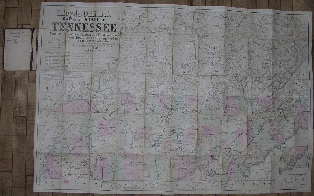 LLOYD, James T. and Charles A. REEVES. Lloyd's official map of the State of Tennessee, 1863. New York: J.T. Lloyd, 1863