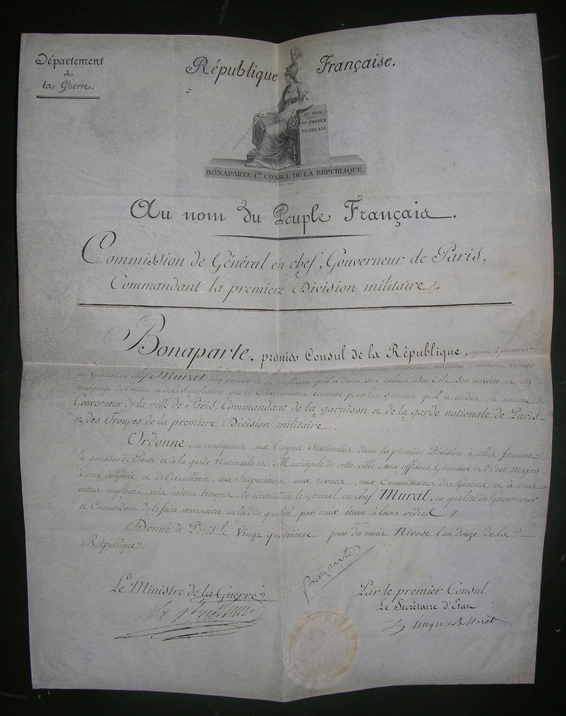 "NAPOLEON I (1769-1821). Emperor of the French. Manuscript Document Signed (""Bonaparte""), countersigned by the Minister of War and Secretary of State, papered embossed Seal. Paris: 24 Nivose An 12 [15 January 1804]."