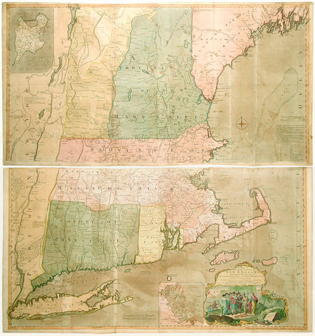 "MEAD, Braddock (ca 1688-1757), also known as ""John Green"". Map of the Most Inhabited Part of New England. London: Thomas Jefferys, November 29th, 1774"
