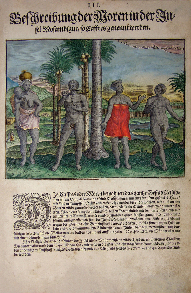 "De BRY, Johann Theodor, (1560-1623) and Johann Israel de Bry (1565-1609).  Part II, Plate 03, Description of the Negroes on the Island Mozambigue Called Caffres. From the ""Little Voyages"""