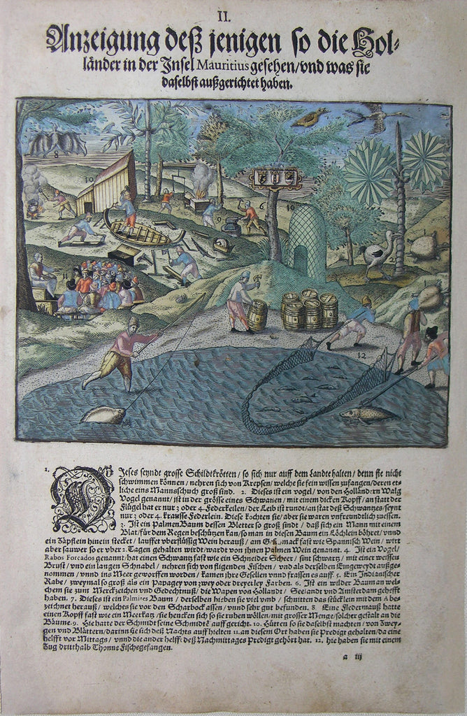 "De BRY, Johann Theodor, (1560-1623) and Johann Israel de Bry (1565-1609). Part V, Plate 02, Presentation of the Things that the Dutch Saw on the island Mauritius and Their Usage. From the ""Little Voyages"""