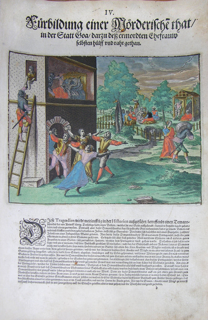 "De BRY, Johann Theodor, (1560-1623) and Johann Israel de Bry (1565-1609). Part III, Plate 04, Execution of an Act of Murder in the City Goa with the Assistance of the Victim's Wife Herself. From the ""Little Voyages"""