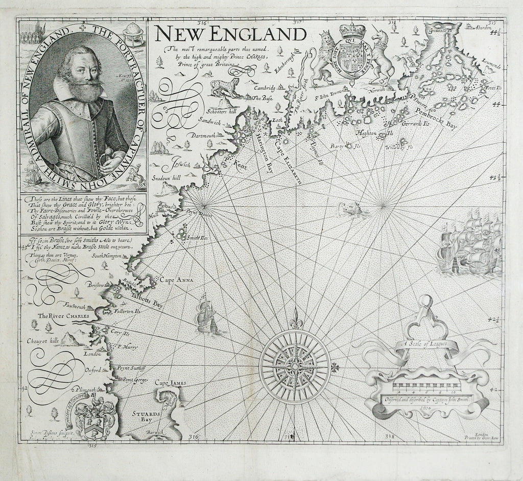 SMITH, John (1580-1631). New England the most remarqueable parts thus named by the high and mighty Prince Charles, Prince of great Britaine. Observed and described by Captayn John Smith. London, (1616), 1626