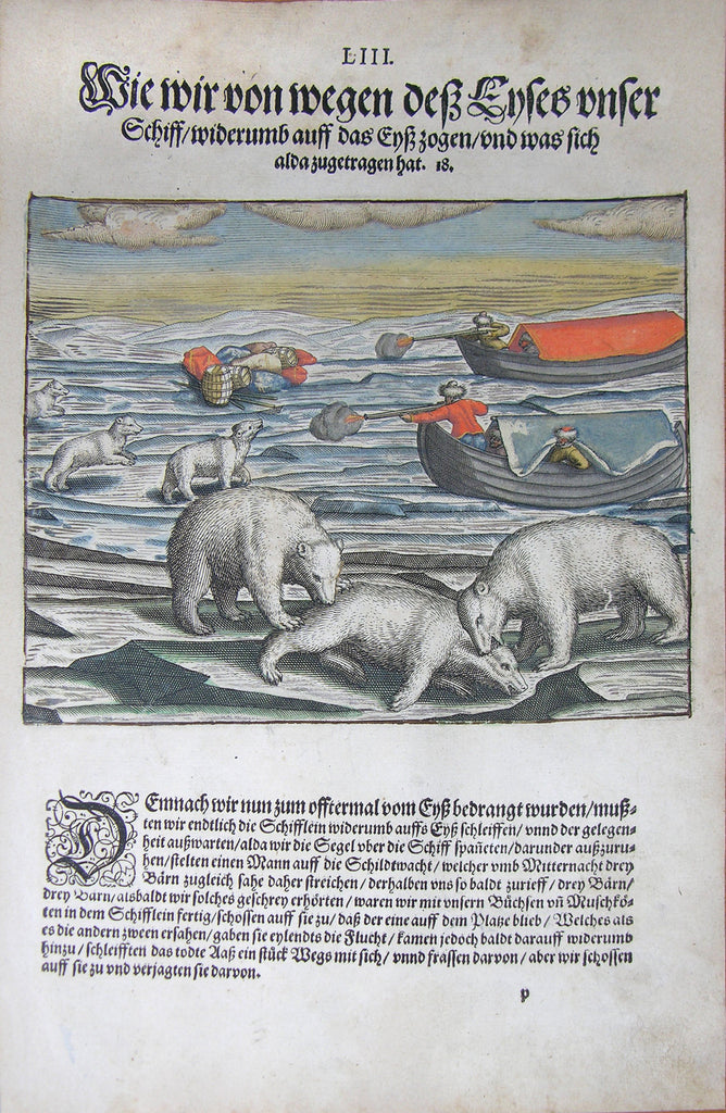"De BRY, Johann Theodor, (1560-1623) and Johann Israel de Bry (1565-1609). Part III, Plate 53, How We Because of the Ways of the Ice Pulled the Ship Back on the Ice and What Else Occurred. From the ""Little Voyages"""