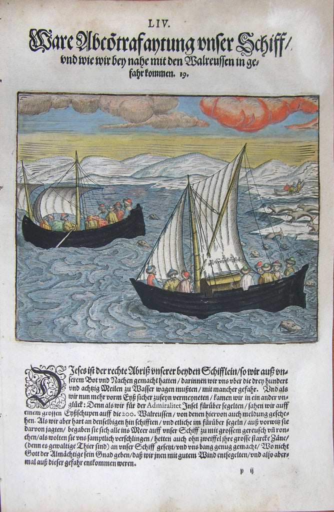 "De BRY, Johann Theodor, (1560-1623) and Johann Israel de Bry (1565-1609). Part III, Plate 54, Real Red Clouds our Ship and How We came Close in Danger with Walruses. From the ""Little Voyages"""