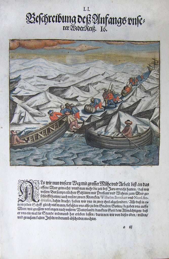 "De BRY, Johann Theodor, (1560-1623) and Johann Israel de Bry (1565-1609). Part III, Plate 51, Description of the Beginning of our Next Journey. From the ""Little Voyages"""