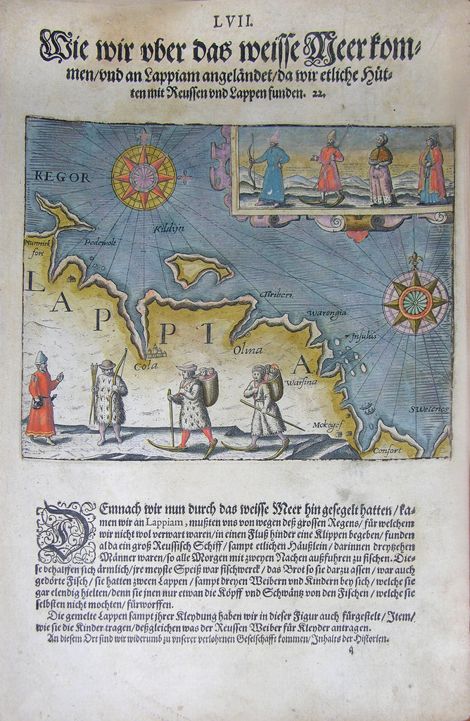 "De BRY, Johann Theodor, (1560-1623) and Johann Israel de Bry (1565-1609). Part III, Plate 57, How We Came Over the White Sea and Docked at Lapland Where we Found Several Russian and Lappian Cottages. From the ""Little Voyages"""