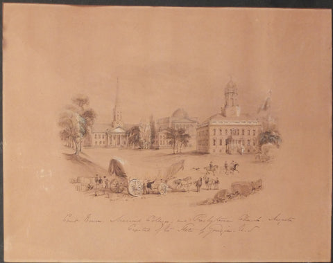 BROOKE, William Henry (1772–1860) - BUCKINGHAM, James Silk (1786–1855). Court House, Medical College, and Presbyterian Church, Augusta, Capital of the State of Georgia, U.S. London: 1842.
