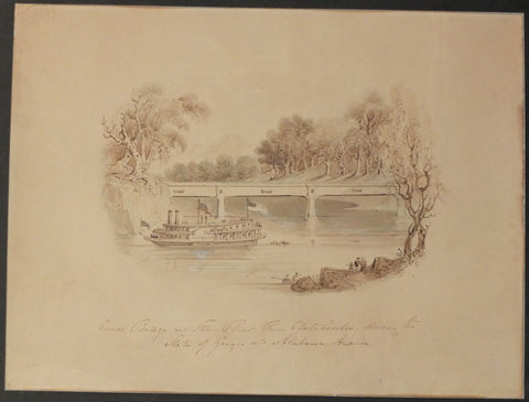 BROOKE, William Henry (1772–1860) - BUCKINGHAM, James Silk (1786–1855). Covered Bridge and Steam-Boat - River Chatahoochee, dividing the States of Georgia and Alabama, America. London: 1842.