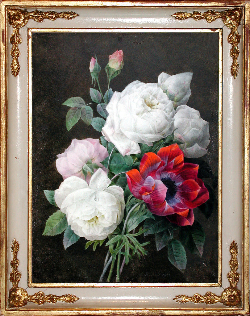 REDOUTE, Pierre Joseph (1759-1840). An Original Watercolour on Vellum of a Bouquet of Roses with an Anenome. 1832.