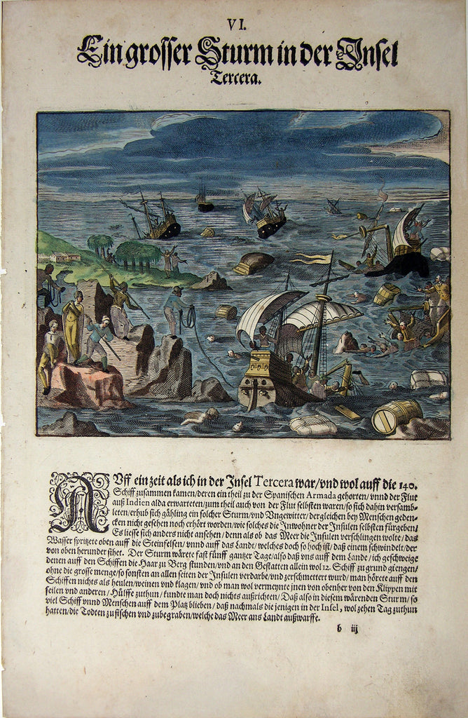 "De BRY, Johann Theodor, (1560-1623) and Johann Israel de Bry (1565-1609). Part III, Plate 06, A Great Storm on the Island Tercera. From the ""Little Voyages"""