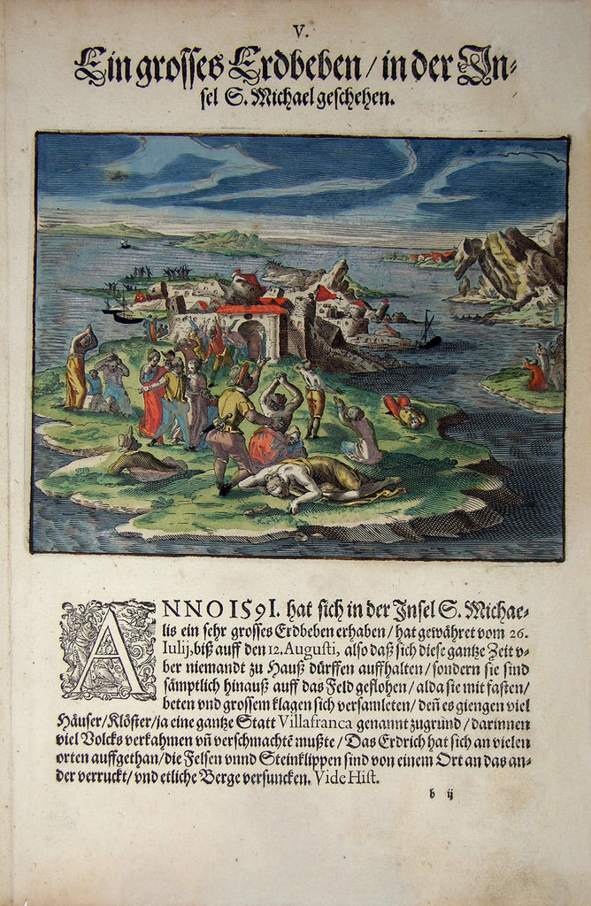 "De BRY, Johann Theodor, (1560-1623) and Johann Israel de Bry (1565-1609). Part III, Plate 05, A Big Earthquake on the Island S. Michael. From the ""Little Voyages"""