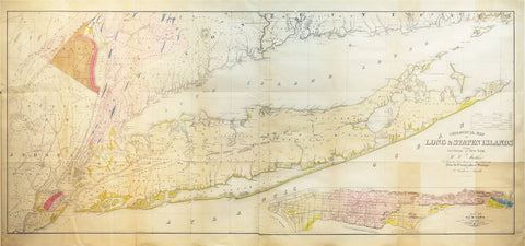 MATHER, William W (1804-1859). Geological Map of Long Island. New York, 1842.