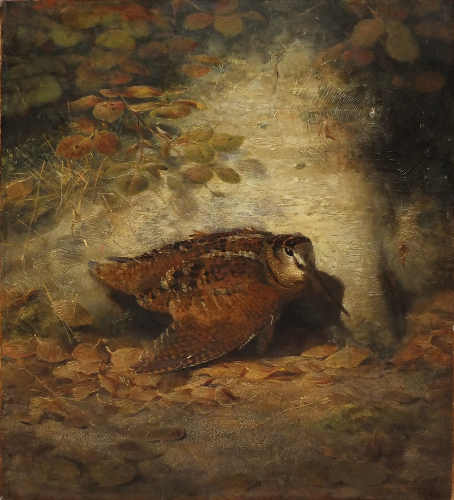 WOLF, Joseph (1820-1899). Autumn--Wounded Woodcock. 1850. Oil on canvas.