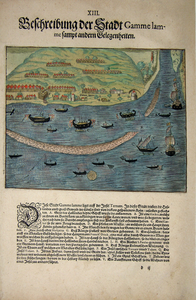 "De BRY, Johann Theodor, (1560-1623) and Johann Israel de Bry (1565-1609). Part V, Plate 13, Description of the City Gamme lamme. From the ""Little Voyages"""