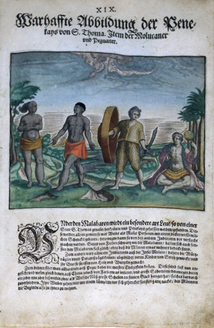 "De BRY, Johann Theodor, (1560-1623) and Johann Israel de Bry (1565-1609).  Part II, Plate 19, Actual Illustration of the Penekays from S. Thoma. Including the Moluccans and Peguins. From the ""Little Voyages"""