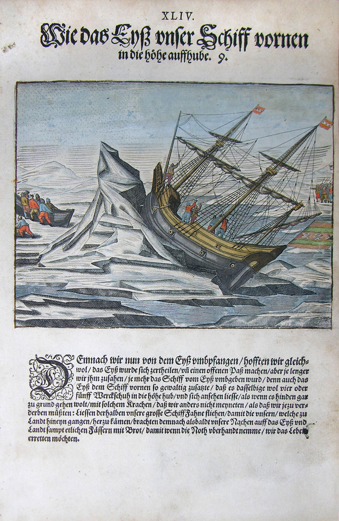 "De BRY, Johann Theodor, (1560-1623) and Johann Israel de Bry (1565-1609). Part III, Plate 44, How the Ice Lifted our Ship Up in the Front. From the ""Little Voyages"""