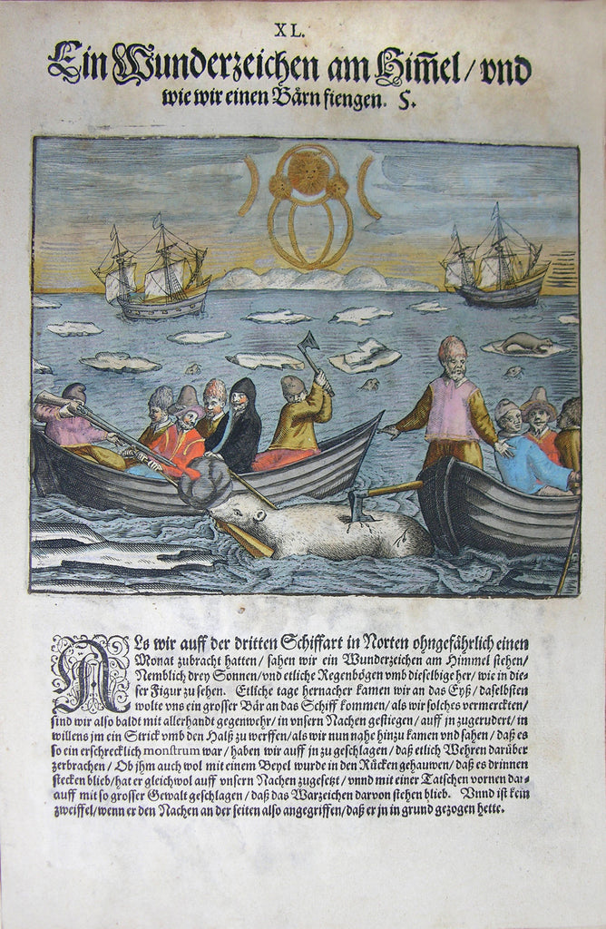 "De BRY, Johann Theodor, (1560-1623) and Johann Israel de Bry (1565-1609). Part III, Plate 40, A Miraculous Sign in the Sky and How We Caught the Bear. From the ""Little Voyages"""