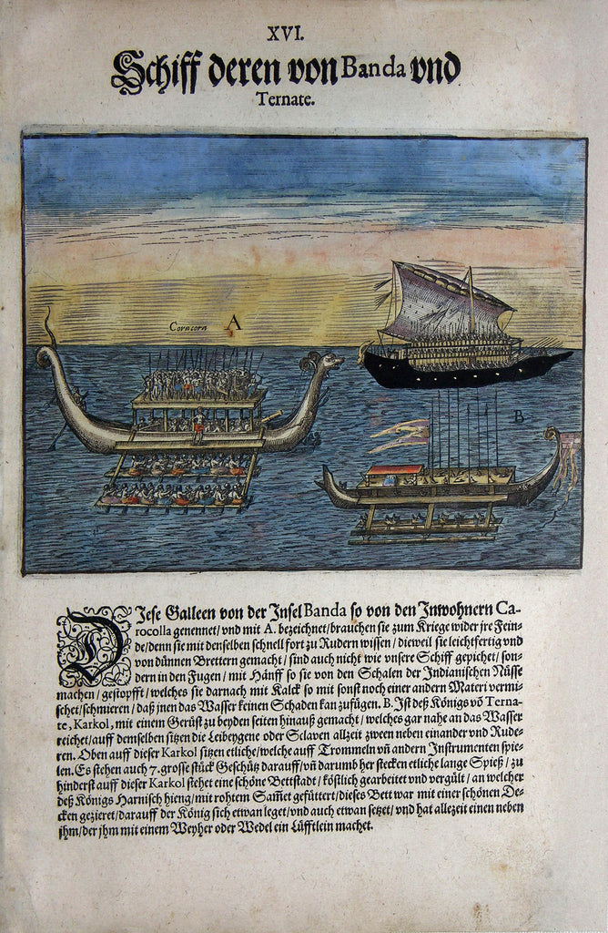 "De BRY, Johann Theodor, (1560-1623) and Johann Israel de Bry (1565-1609). Part V, Plate 16, Ships of Those from Banda and Ternate. From the ""Little Voyages"""