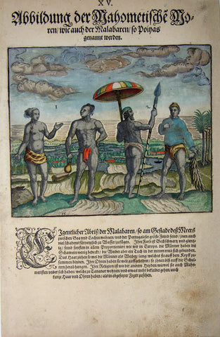 "De BRY, Johann Theodor, (1560-1623) and Johann Israel de Bry (1565-1609).  Part II, Plate 15, Illustration of the Muslim Negroes also of the Malabaren called Poiyas. From the ""Little Voyages"""