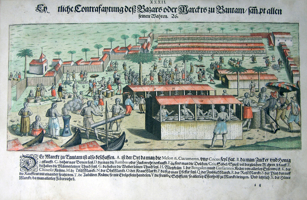 "De BRY, Johann Theodor, (1560-1623) and Johann Israel de Bry (1565-1609). Part III, Plate 32, Actual Description of the Bazaar or Market of Bantam Including all the Wares. From the ""Little Voyages"""