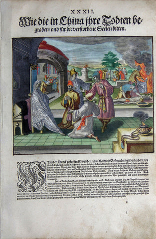 "De BRY, Johann Theodor, (1560-1623) and Johann Israel de Bry (1565-1609).  Part II, Plate 32, How the Chinese Bury their Dead and Pray for the Souls that Passed Away. From the ""Little Voyages"""
