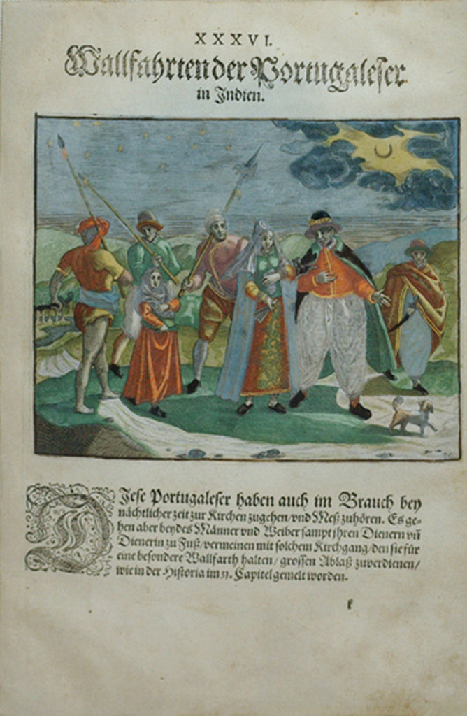 "De BRY, Johann Theodor, (1560-1623) and Johann Israel de Bry (1565-1609).  Part II, Plate 36, Portuguese Pilgrimage in India. From the ""Little Voyages"""
