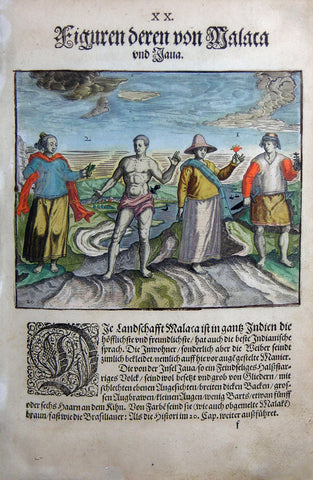 "De BRY, Johann Theodor, (1560-1623) and Johann Israel de Bry (1565-1609).  Part II, Plate 20, Figures of Those From Malaca and Iaua. From the ""Little Voyages"""