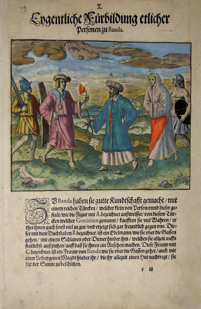 "De BRY, Johann Theodor, (1560-1623) and Johann Israel de Bry (1565-1609). Part V, Plate 10, Actual Illustration of Several People from Banda. From the ""Little Voyages"""