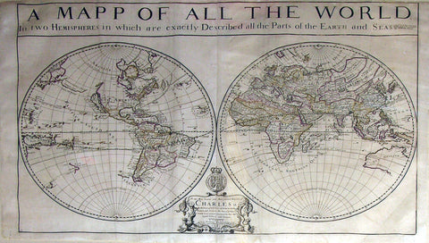BERRY, William (1669-1708). A Mapp of All the World. London: William Berry, 1680.