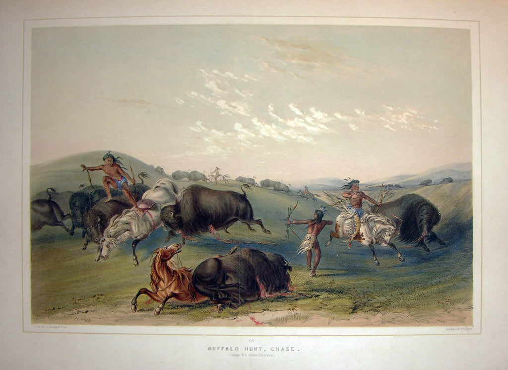 CATLIN, George (1796-1872). Plate No. 07 Buffalo Hunt, Chase