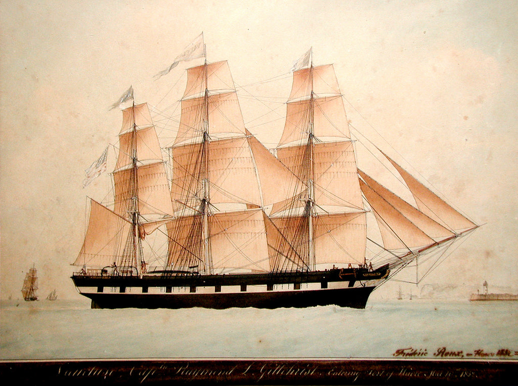 ROUX, Frederic (1805-1870). Vaucluse...Entering Port of Havre - May 10, 1832. Mixed media including watercolor, gouache, and graphite on paper.