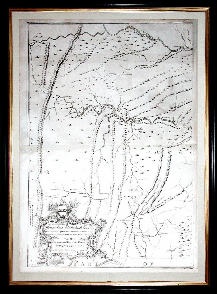 SCULL, Nicholas (1687-1761).  Map of the improved Part of the Province of Pennsylvania. Philadelphia: Engraved by Jas. Turner and Printed by John Davis for the Author; Published & Sold by the Author, Nicholas Scull, 1 January 1759.