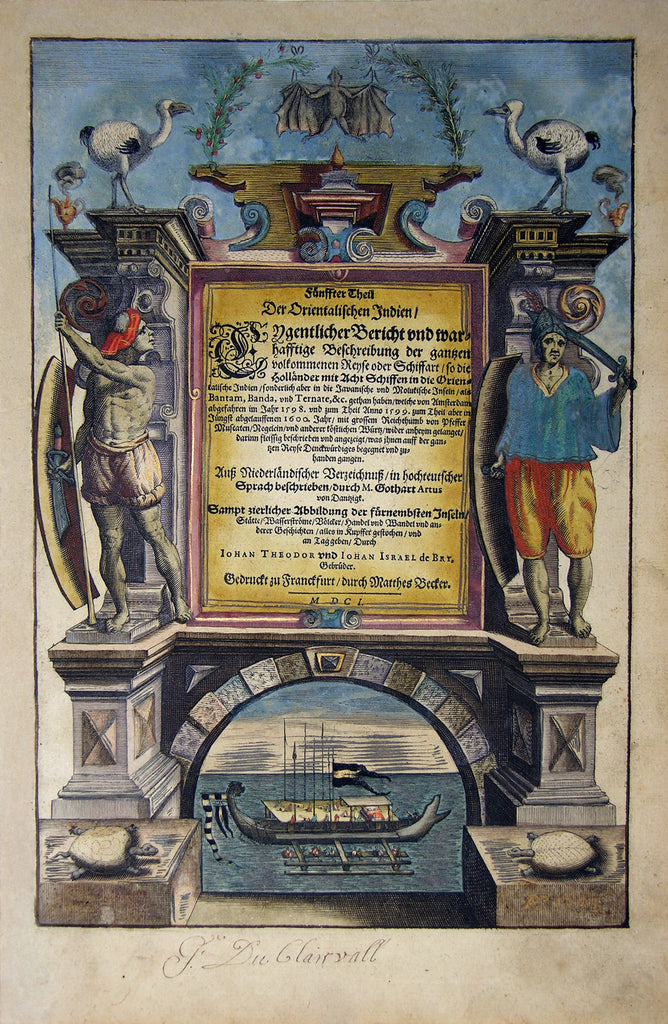 "De BRY, Johann Theodor, (1560-1623) and Johann Israel de Bry (1565-1609). Part V, Title Page. From the ""Little Voyages"""