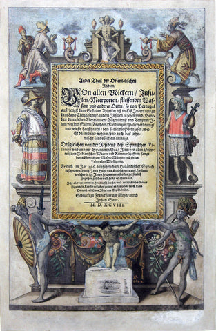 "De BRY, Johann Theodor, (1560-1623) and Johann Israel de Bry (1565-1609).  Part II, Title Page. From the ""Little Voyages"""