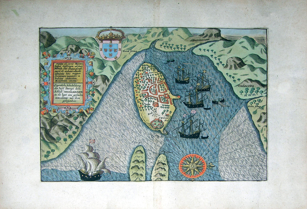 "De BRY, Johann Theodor, (1560-1623) and Johann Israel de Bry (1565-1609). Part V, View of Mozambique and Madagascar. From the ""Little Voyages"""