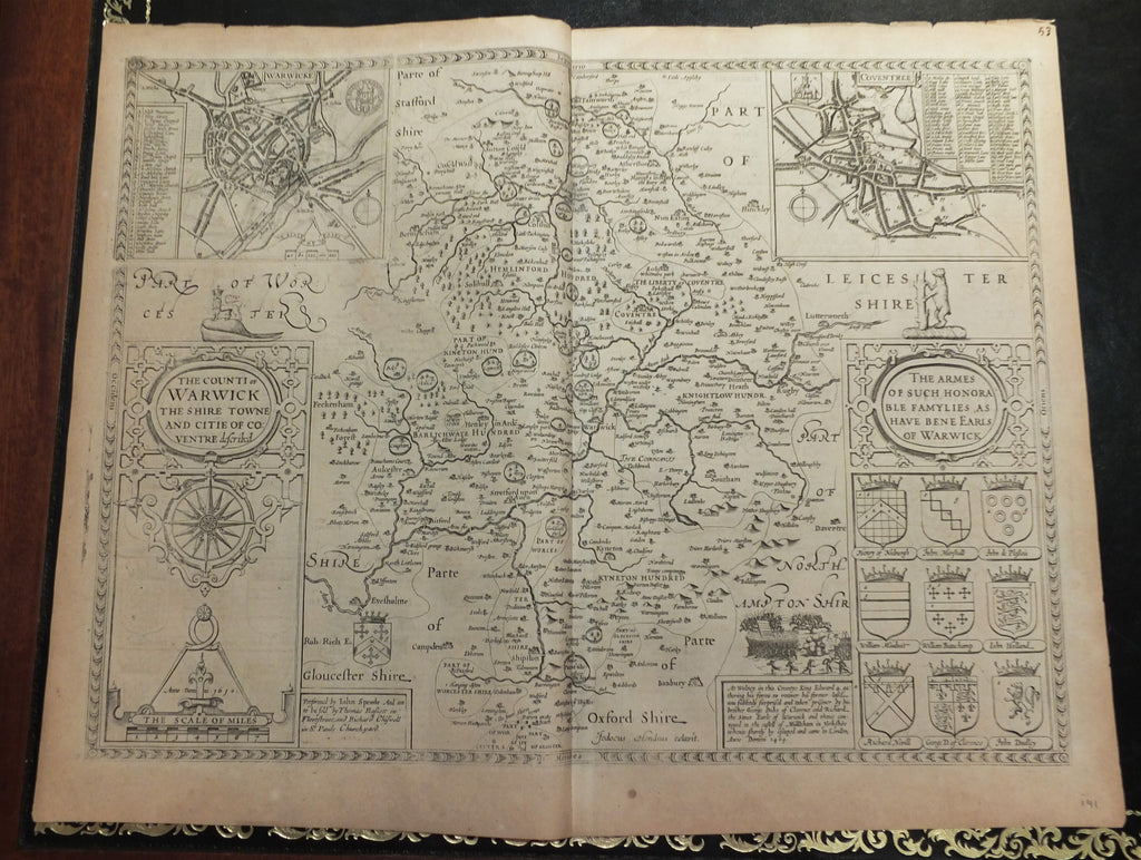 "SPEED, John (1552 - 1629). Theatre of the Empire of Great Britaine. ""The Counti of Warwick The Shire Towne and Citie of Coventre described"". London: Baseet & Chiswell, 1676."