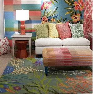 Vibrant colors mix with Island themes, indoor or outdoor.