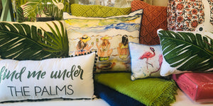 Indoor/outdoor pillows in beachy prints. Light weight quilts for summer nights.