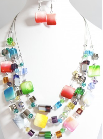 Murano Glass Necklace 3 Strand Rainbow