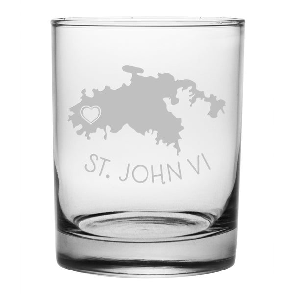 St. John Etched Glass Set/4